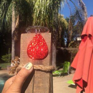 Red Glitter Earrings